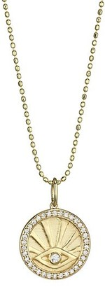 Sydney Evan 14K Yellow Gold & Diamond Evil Eye Pendant Necklace