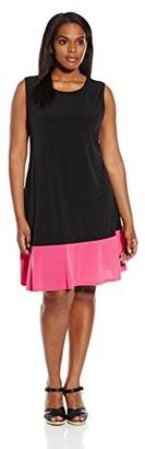 Tiana B T I A N A B. Women's Plus Size Sleeveless Color Block Swing Dress
