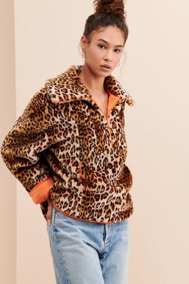 J.o.a. Half-Zip Leopard Pullover