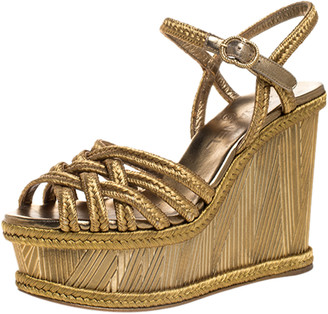 Chanel Metallic Gold Woven Thread Wedge Platform Sandals Size 37.5