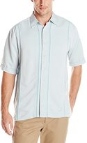 Cubavera Men's Short Sleeve Front Insert Panel Woven Shirt with Pick Stitch