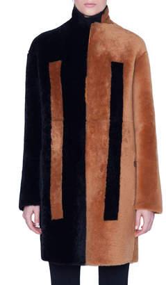 Akris Two-Tone Shearling Knee Length Coat