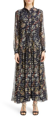 Chloé Print Metallic Long Sleeve Fil Coupe Maxi Shirtdress