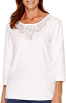 Alfred Dunner Cape Hatteras 3/4-Sleeve Embroidered-Yoke Top