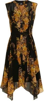 Wallis Black Paisley Print V-Neck Midi Dress