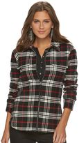 Chaps Petite Plaid Brushed Twill Shirt