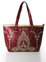 Nicole Lee Red Faux Leather Jeweled Embroidered Handbag New