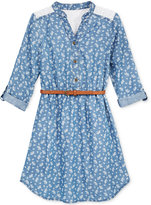 Sequin Hearts Floral Chambray Shirtdress, Big Girls (7-16)