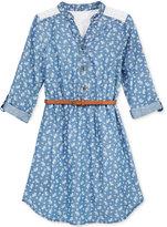 Sequin Hearts Floral Chambray Shirtdress, Big Girls (7-16)