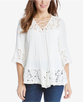 Karen Kane Lace-Up Lace-Trim Top