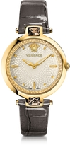 Versace Crystal Gleam Grey Women's Watch w/White Guilloché Dial and Croco Embossed Band