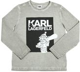Karl Lagerfeld Bleached Printed Cotton Jersey T-Shirt