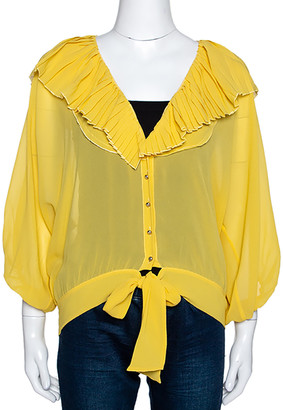 Roberto Cavalli Yellow Georgette Pleated Neckline Blouse L