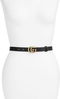 Gucci Imitation Pearl Logo Buckle Leather Skinny Belt