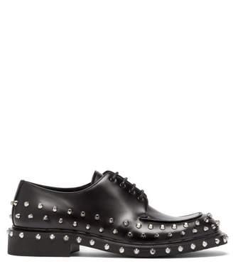 Prada Studded Leather Derby Shoes - Mens - Black