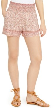 BeBop Juniors' Border-Print Smocked-Waist Shorts