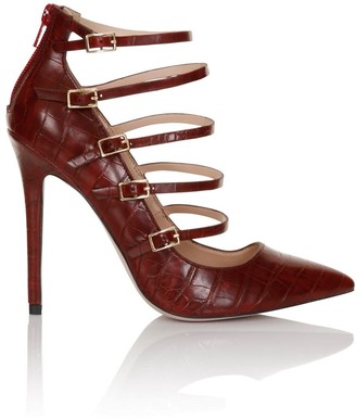 Paper Dolls Footwear Dark Red Croc Print Five Strap Court Shoes