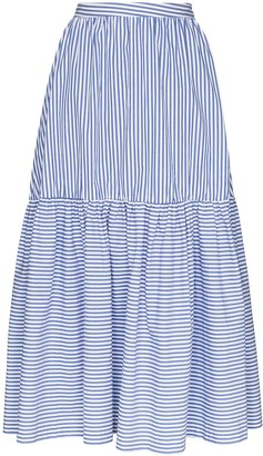 STAUD Orchid striped maxi skirt