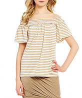 M.S.S.P. Off-the-Shoulder Fleck Stripe Knit Top