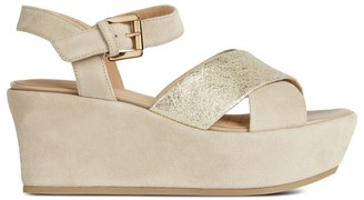 Geox D Zerfie Leather Wedge Sandals