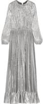 ADAM by Adam Lippes Ruffled Plissé Silk-blend Lamé Gown - Silver