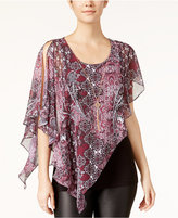 Amy Byer Juniors' Printed Asymmetrical Top with Necklace