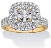 Seta Jewelry Cushion-cut Cubic Zirconia Double Halo 2-piece Wedding Ring Set 1.97 Tcw.