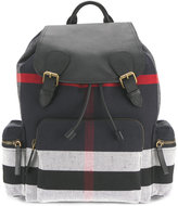 Burberry stripe panel backpack - men - Cotton/Jute/Leather - One Size