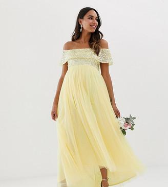 Maya Maternity Bridesmaid delicate sequin bardot high low maxi dress in lemon-Yellow