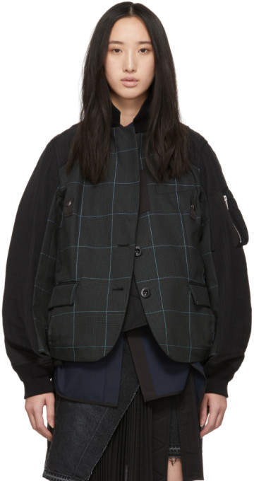 Sacai Black and Green Glen Check Panelled Jacket
