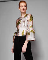 Ted Baker FRANEO Chatsworth Bloom cropped bell sleeved jacket