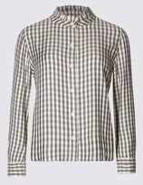 Marks and Spencer Frill Neck Checked Long Sleeve Blouse