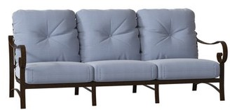 Woodard Belden Patio Sofa Woodard Cushion Color: Concord Denim, Frame Color: Chestnut Brown