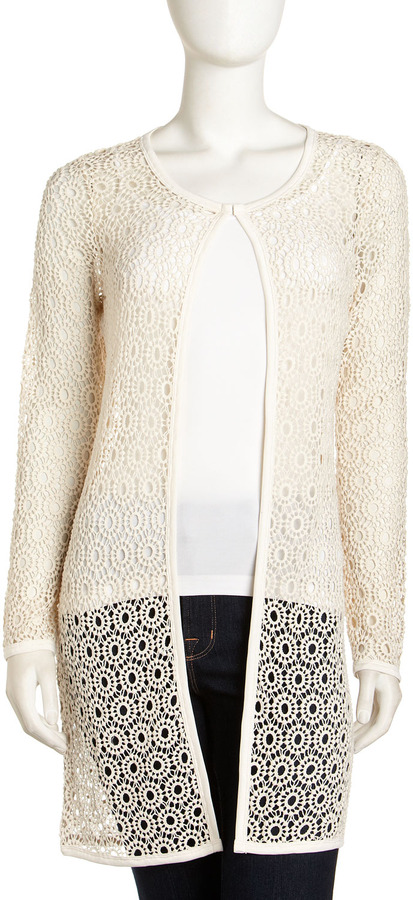 Neiman Marcus Long Lace Cardigan, Natural