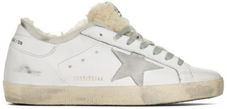 Golden Goose White Shearling Double Structure Superstar Sneakers