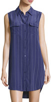 Equipment Slim Signature Sleeveless Striped Shirtdress, Blue/White