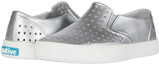 Native Miles Metallic (Little Kid/Big Kid) (Silver Metallic/Shell White) Girl's Shoes