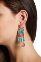 Steve Madden Bead Detail Fringe Front & Back Earrings