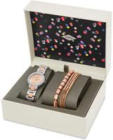 Fossil Women's Virginia Crystal Two-Tone Stainless Steel Bracelet Watch & Bracelets Box Set 30mm ES4137SET