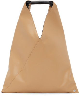 MM6 MAISON MARGIELA Beige Faux-Leather Small Triangle Tote