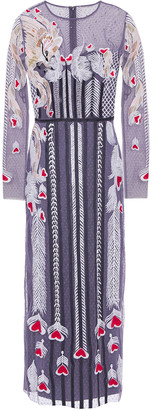 Temperley London Satin-trimmed Embroidered Point D'esprit Midi Dress