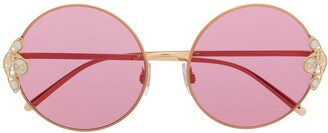 Dolce & Gabbana Eyewear Pearl-Embellished Round-Frame Sunglasses
