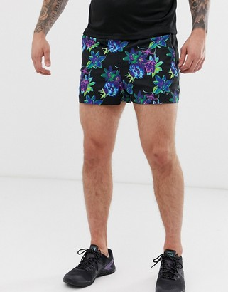 Asos 4505 4505 training shorts in mid length with floral print-Black