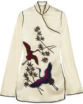Attico - Elena Embellished Embroidered Satin Mini Dress - Cream