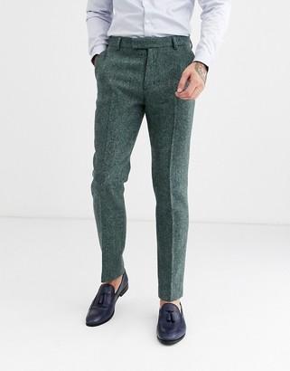 ASOS DESIGN slim smart trousers in 100% wool Harris Tweed herringbone in green