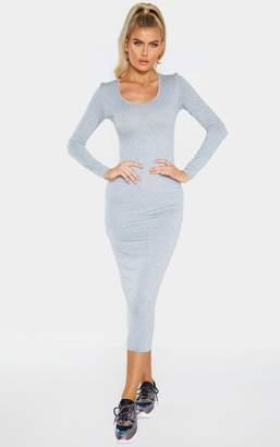 PrettyLittleThing Tall Grey Marl Long Sleeve Jersey Maxi Dress