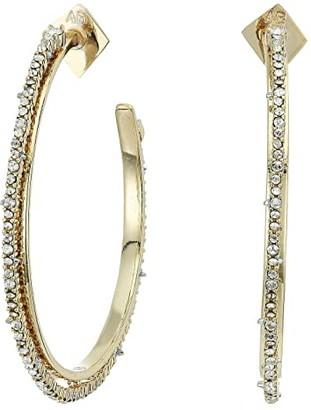 Alexis Bittar Crystal Encrusted Spiked Hoop Earrings (Gold) Earring