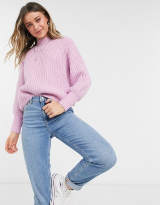 Pieces jumper with high neck and puff sleeve in pastel pink