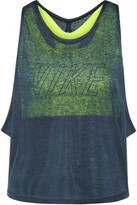 Nike Training Layered Cutout Slub Jersey And Dri-fit Stretch Tank - Storm blue