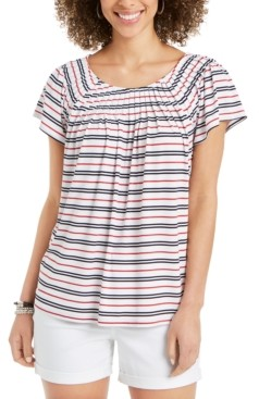 Style&Co. Style & Co Petite Striped Pleated-Neck Top, Created for Macy's